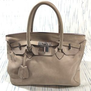 Genuine Italian Suede Leather Top Handle Bag